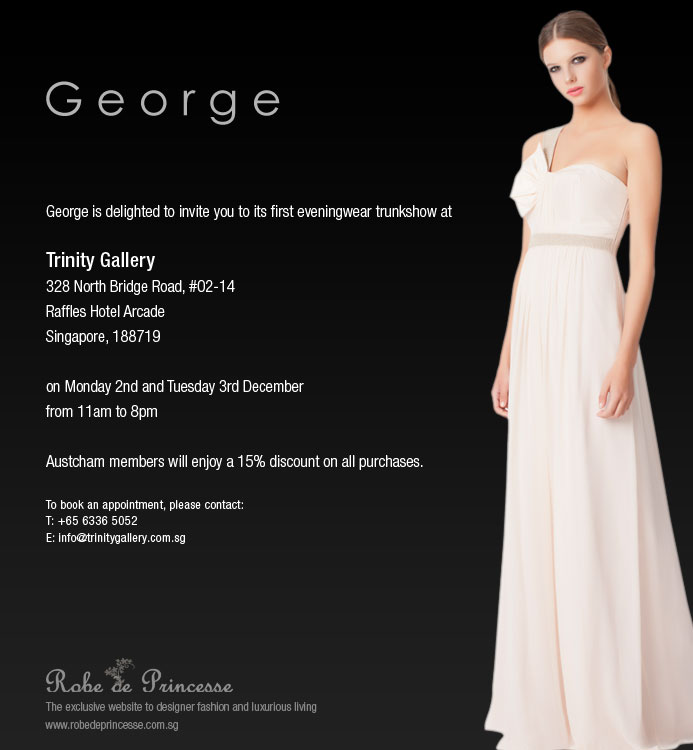 E-Invitation To George's First Eveningwear Trunkshow with Trinity Gallery